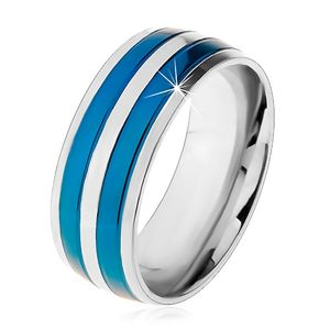 Dwukolorowy stalowy pierścionek, cienkie pasy w niebieskim i srebrnym odcieniu, nacięcia, 8 mm - Rozmiar : 63