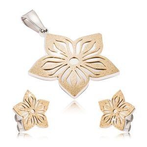 Dwukolorowy stalowy zestaw - kolczyki i zawieszka, wycinany piaskowany kwiat