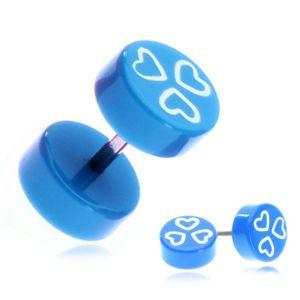 Fake piercing do ucha z akrylu - niebieskie kółka i serduszka
