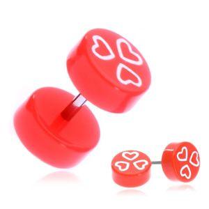 Fake piercing do ucha z akrylu - pomarańczowe walce z sercami