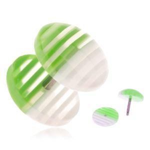 Fake plug z akrylu, przezroczyste kółeczka z białymi i zielonymi paskami