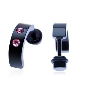 Fake plug ze stali - czarna otwarta obręcz, dwie różowe cyrkonie