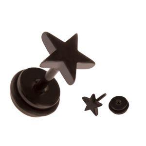 Fałszywy piercing do ucha ze stali - czarna gwiazda