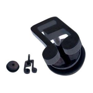 Fałszywy plug do ucha ze stali - czarna szestastkowa nutka