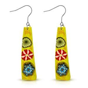 FIMO kolczyki, żółty prostokąt z trzema kolorowymi kwiatami, bigiel