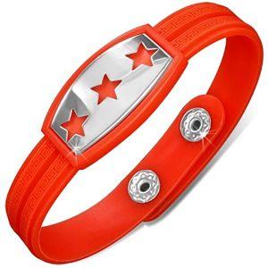 Gumowa bransoletka czerwono-pomarańczowa, wstawka z gwiazdami