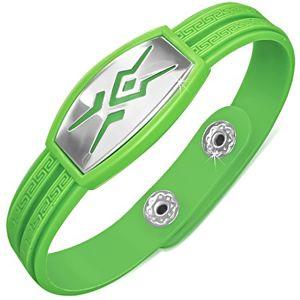 Gumowa zielona bransoletka, wzór tribal na wstawce, klucz grecki