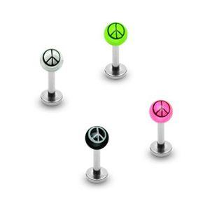 Kolczyk do brody - symbol pokoju na kuleczce - Kolor kolczyka: Różowy