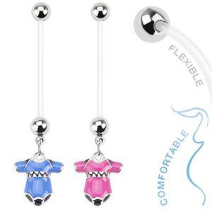 Kolczyk do brzucha z bioflexu dla kobiet w ciąży, kolorowe body dziecięce - Kolor kolczyka: Różowy