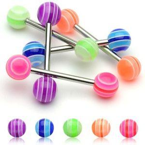 Kolczyk do języka - Multicolor Ball UV - Kolor kolczyka: Jasnoróżowy