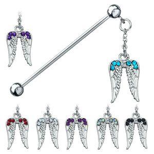 Kolczyk do ucha ze stali chirurgicznej - anielskie skrzydła z cyrkoniami - Kolor cyrkoni: Aqua niebieski - Q
