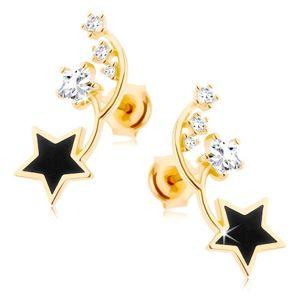 Kolczyki w żółtym 9K złocie - dwa cienkie łuki, czarna i cyrkoniowa gwiazdeczka