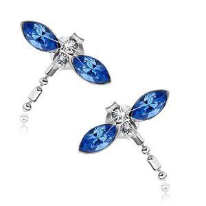 Kolczyki wkręty, srebro 925, ważki z niebieskimi skrzydłami, kryształki Swarovski