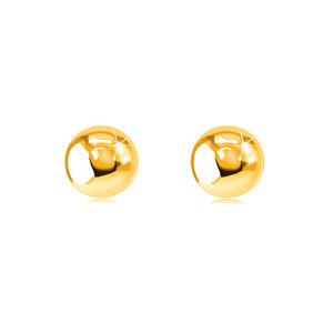 Kolczyki wkręty z żółtego 9K złota - lśniące gładkie kuleczki, 5 mm