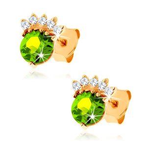Kolczyki wkręty z żółtego złota 9K - okrągły oliwin zielonego koloru, przezroczysta korona