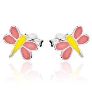 Kolczyki wkręty ze srebra 925 - różowo-żółta ważka
