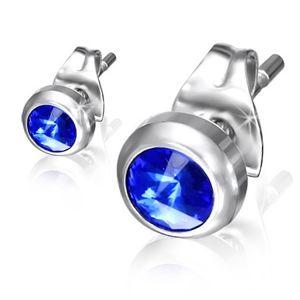 Kolczyki wkręty ze stali - niebieski błyszczący kamyczek w lśniącej oprawie