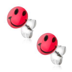 Kolczyki wkręty ze stali chirurgicznej, czerwony uśmiech