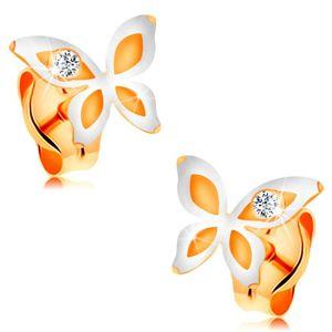 Kolczyki z 14K złota - dwukolorowy motylek z okrągłą bezbarwną cyrkonią