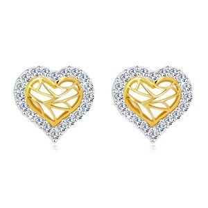 Kolczyki z 14K złota - serce z cyrkoniowym konturem i wycięciem w środku