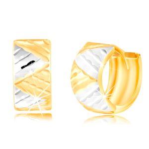 Kolczyki z 14K złota - szerszy łuk z trójkątami z białego i żółtego złota
