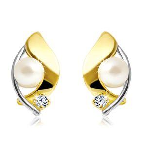 Kolczyki z 14K złota, dwukolorowe ziarno, biała perła i bezbarwna cyrkonia