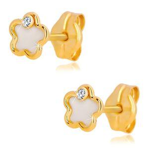 Kolczyki z 14K żółtego złota - kwiat z naturalną perłą i cyrkonią