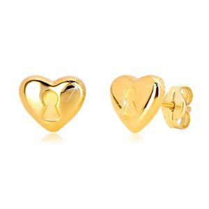 Kolczyki z 14K żółtego złota - serce z dziurką od klucza, zapięcie na sztyft