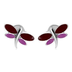 Kolczyki z białego 14K złota - ważka z bordową i fioletową emalią na skrzydłach