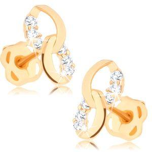 Kolczyki z żółtego 14K złota - dwie złączone elipsy, linia bezbarwnych diamentów