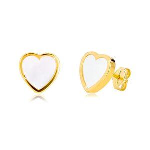 Kolczyki z żółtego 14K złota - kontur symetrycznego serca z naturalną masą perłową