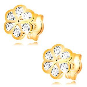 Kolczyki z żółtego 14K złota - kwiat o gładkich konturach i przezroczystych cyrkoniach