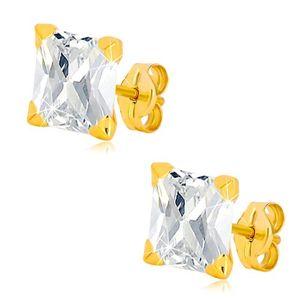 Kolczyki z żółtego 14K złota - wyszlifowany cyrkoniowy kwadrat bezbarwnego koloru, 5 mm