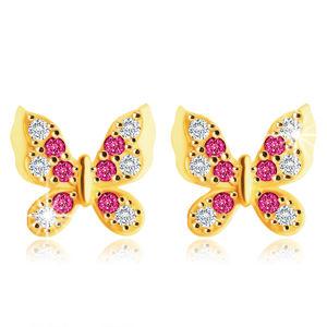 Kolczyki z żółtego 14K złota - motylek z przezroczystymi i czerwono-różowymi cyrkoniami