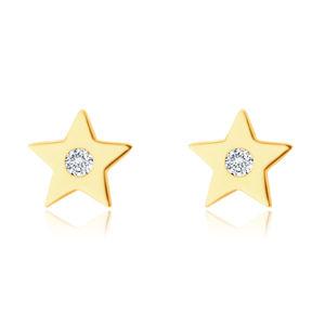 Kolczyki z żółtego 14K złota - pięcioramienna gwiazda z cyrkonią, gładka błyszcząca powierzchnia