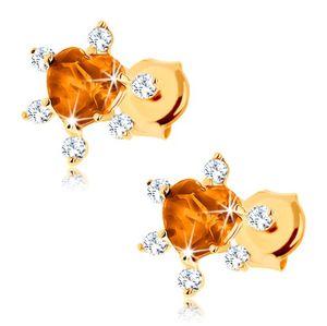 Kolczyki z żółtego złota 14K - szlifowane cytrynowe serce, przezroczyste cyrkonie