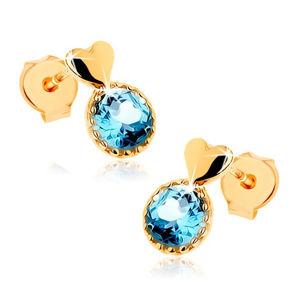 Kolczyki z żółtego złota 14K - gładkie wypukłe serduszko, okrągły niebieski topaz