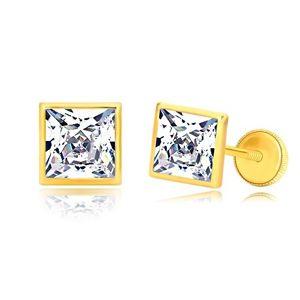 Kolczyki z żółtego złota 585 - błyszczący cyrkoniowy kwadrat w lśniącej oprawie, wkrętka z gwintem, 6 mm