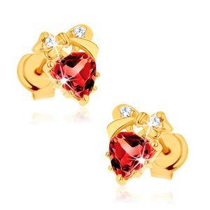 Kolczyki z żółtego złota 9K - czerwone serce z granatu, kokardka, przezroczyste cyrkonie