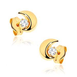 Kolczyki z żółtego złota 9K - mały półksiężyc z przezroczystym kamyczkiem