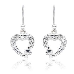 Kolczyki ze srebra 925 - prześwitujące cyrkoniowe kontury serc