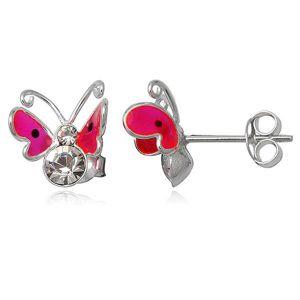 Kolczyki ze srebra 925 - różowy latający motyl, dwie cyrkonie
