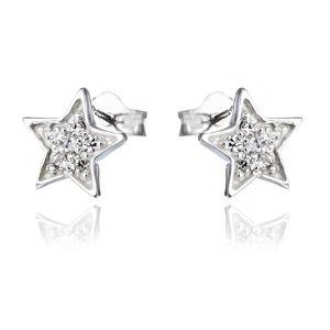 Kolczyki ze srebra 925 - wygrawerowane gwiazdy z cyrkoniami