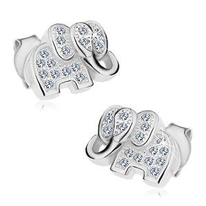 Kolczyki ze srebra 925, błyszczący słonik ozdobiony bezbarwnymi cyrkoniami