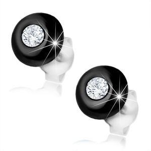 Kolczyki ze srebra 925, czarna półkula z bezbarwną okrągłą cyrkonią