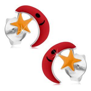 Kolczyki ze srebra 925, czerwony księżyc, żółta gwiazda, emalia, wkręty