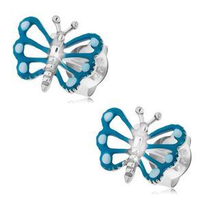 Kolczyki ze srebra 925, motyl z niebieskimi skrzydłami z patynowanym ciałem