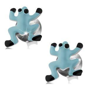 Kolczyki ze srebra 925, niebieska emaliowana żabka, czarne oczy i nóżki