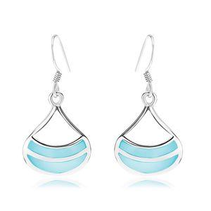 Kolczyki ze srebra 925, rodowane, szeroki zarys kropli, niebieska perła