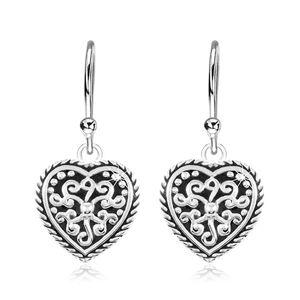 Kolczyki ze srebra 925, serce z czarną emalią i ornamentami